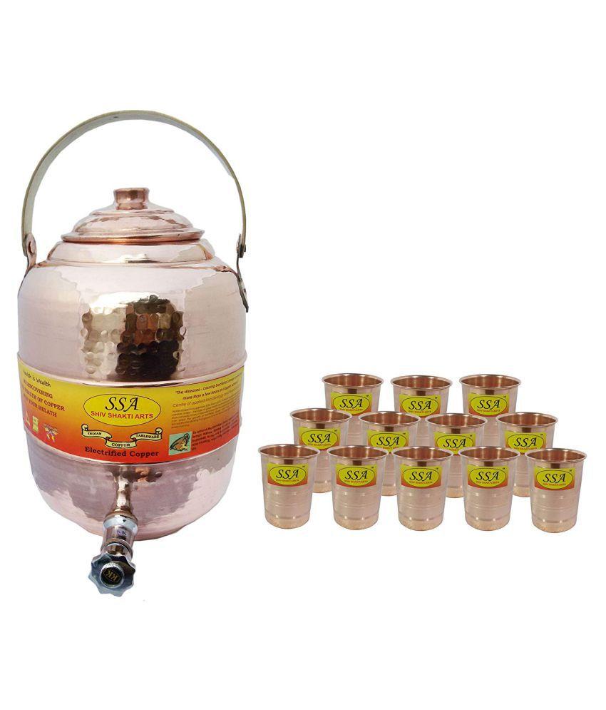 Shiv Shakti Arts Water Dispenser Pot Copper Water Container Set of 1 11500 mL