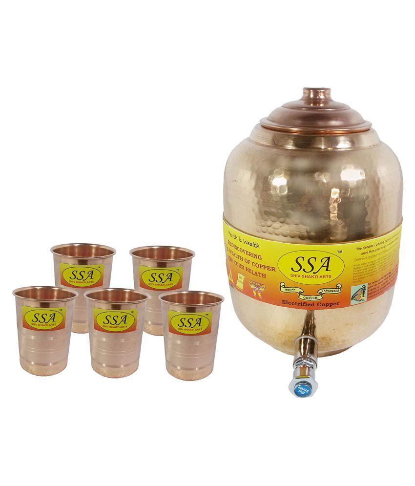 Shiv Shakti Arts Water Dispenser Pot Copper Water Container Set of 1 6500 mL
