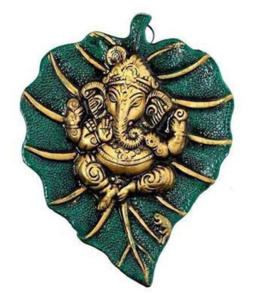 Shoptreed Aluminium Ganesh Idol on Metal Leaf Wall Sculpture Green - Pack of 1