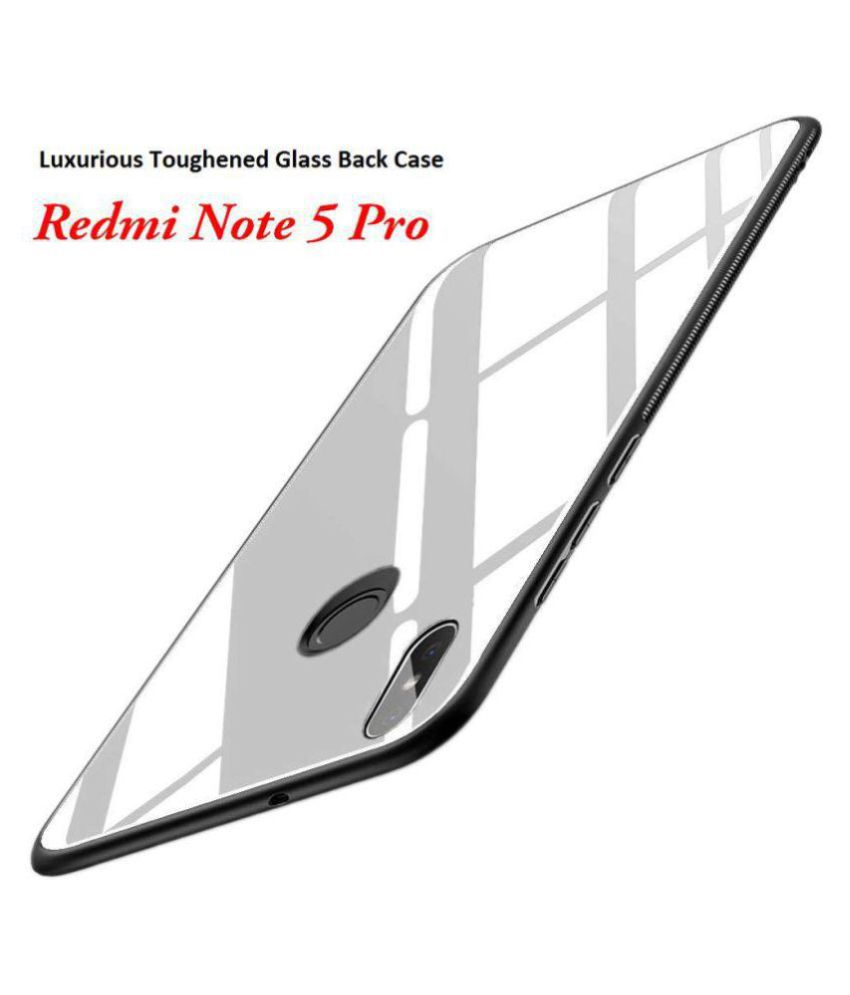 Xiaomi Redmi Note 7 Pro Glass Cover Kosher Traders - White 360°  Luxurious Toughened Glass Back Case