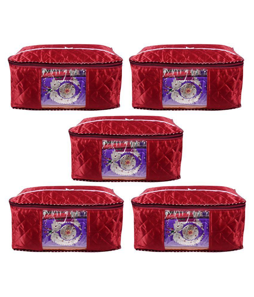 ADABHUT Red Saree Covers - 5 Pcs