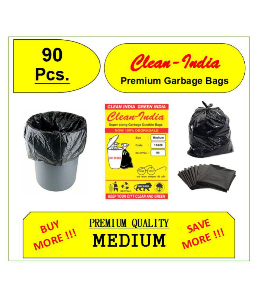 C-I - 90Pcs. Premium Medium Garbage Bags | Black 18X20 | Disposable Kitchen Garbage Trash Waste Dustbin Bags