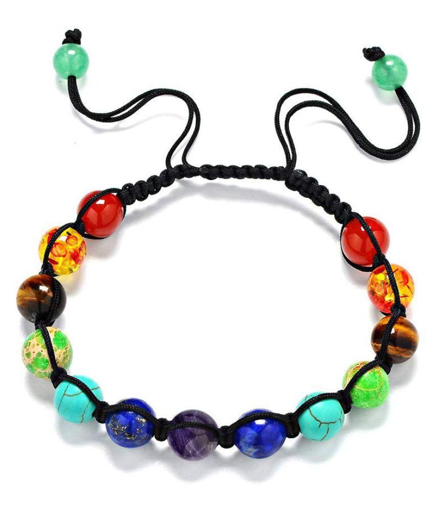 Malabar Gems Seven Chakra Beaded Adjustable Semi Precious Natural Stone Rope Stretch Braided Bracelet for Awakening Healing & Balancing