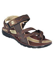 Bata Brown Synthetic Floater Sandals