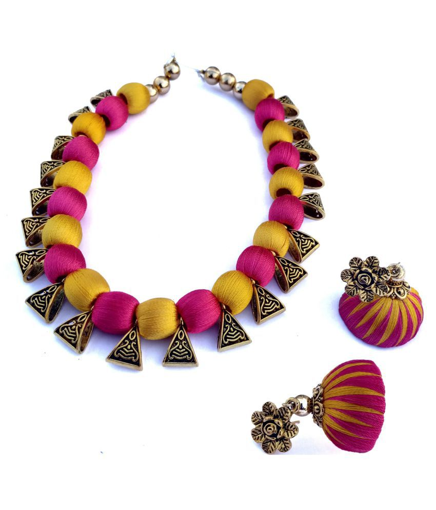 FY Creations Plastic Multi Color Contemporary Designer Gold Plated Necklaces Set