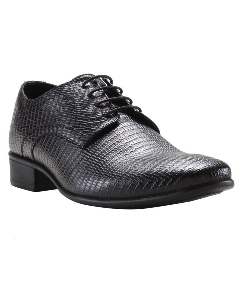 Franco Leone Party Artificial Leather Black Formal Shoes