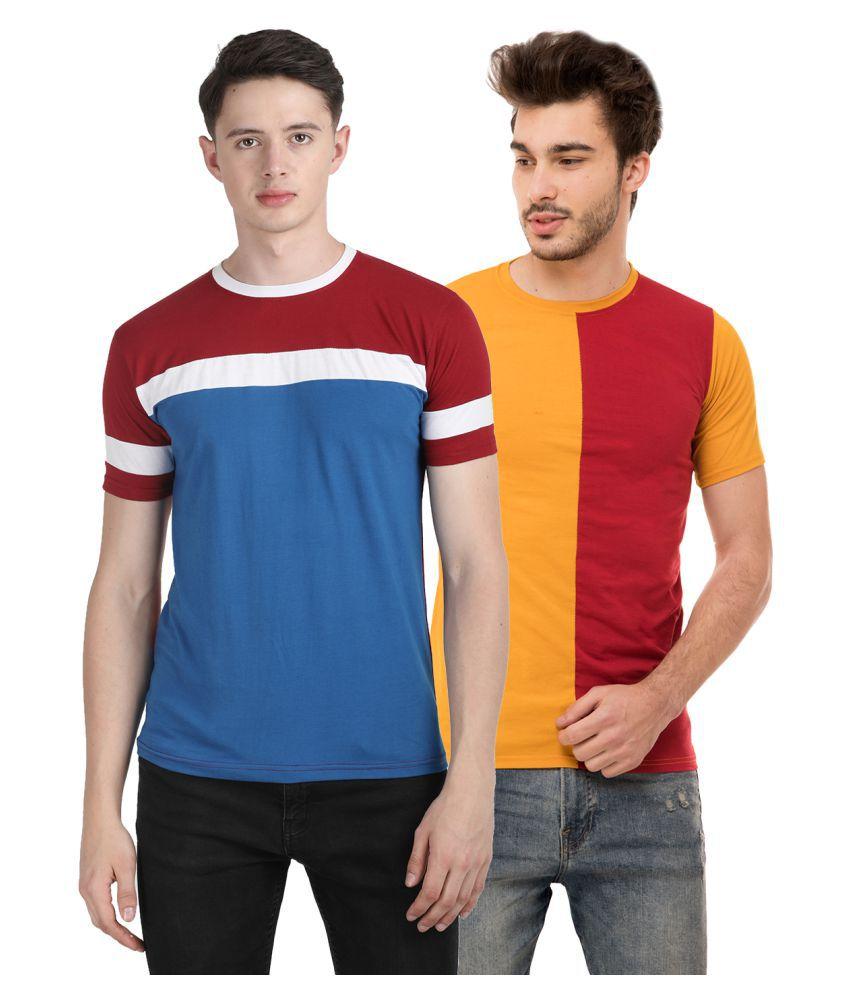Ample Cotton Blend Multi Solids T-Shirt