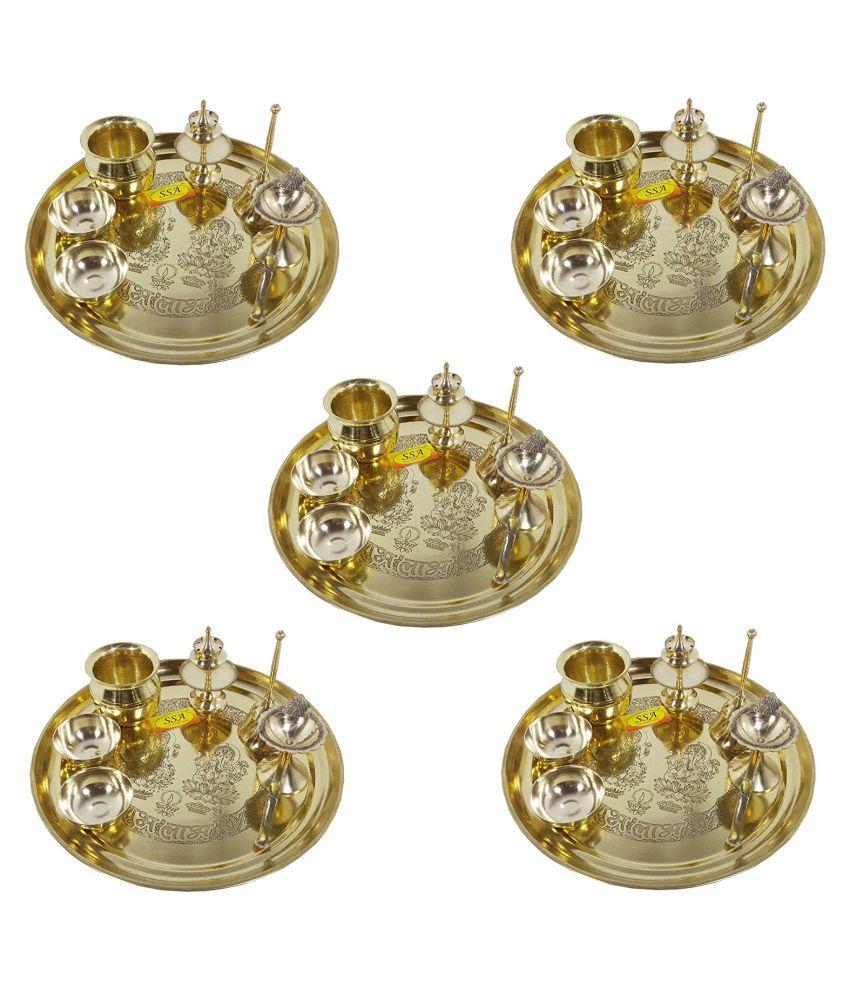 Handmade Pure Set Of 5 Brass Pooja Thali Set 35 pcs (5 Pooja Thali , 5 Ghanti , 10 Roli Chawal Katori , 5 Deepak , 5 Kalash , 5 Agardaan) For Diwlai Laxmi Poojan and Navratri Poojan Purpose