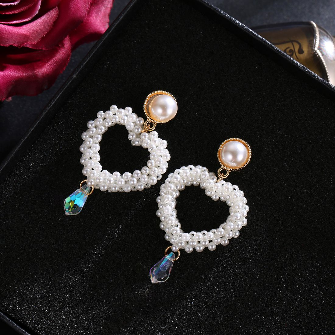 Jewels Galaxy Splendid Heart Inspired Pearl Studded Gold Plated Fascinating Drop Earrings For Women/Girls