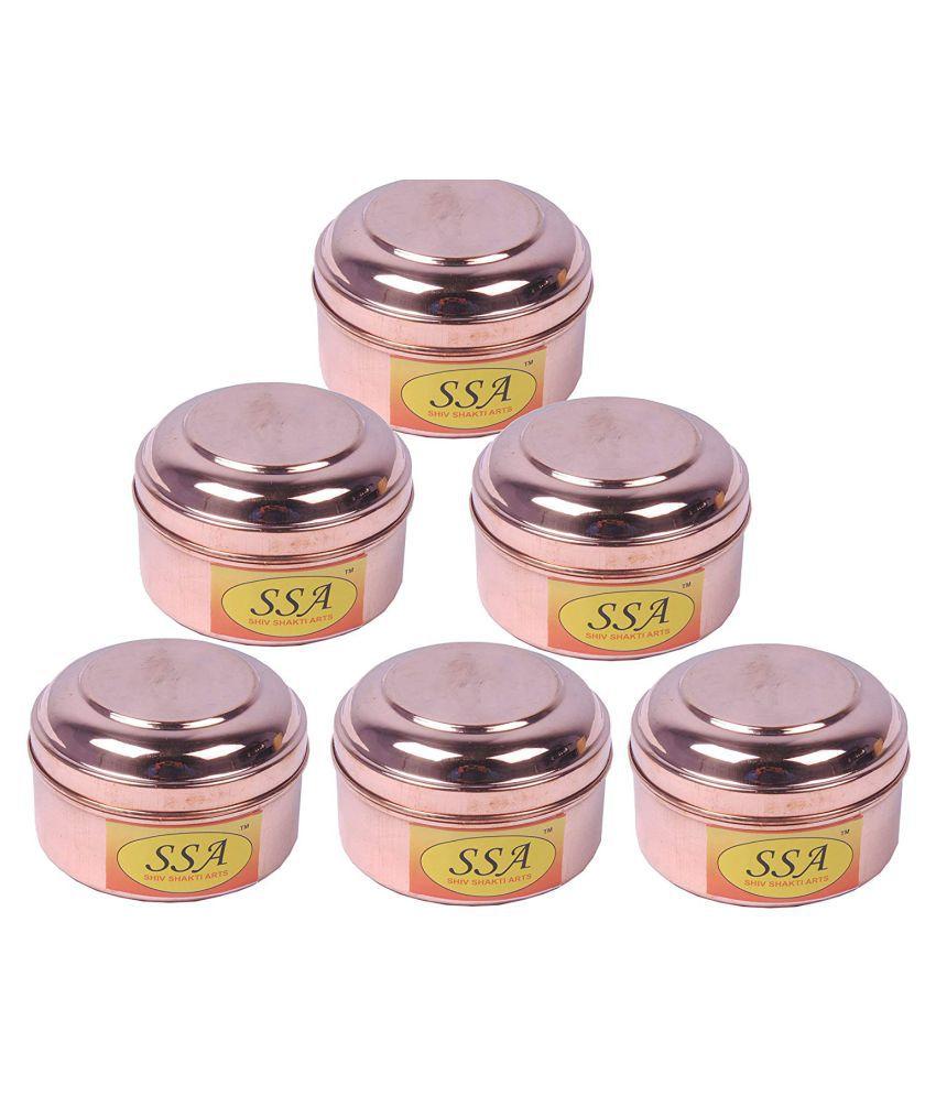 Shiv Shakti Arts box for storage Copper Food Container Set of 6 250 mL