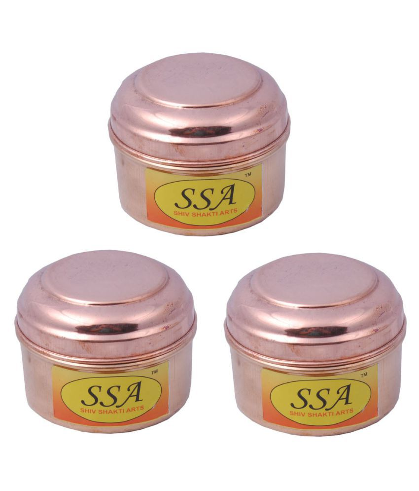 Shiv Shakti Arts box for storage Copper Food Container Set of 3 150 mL