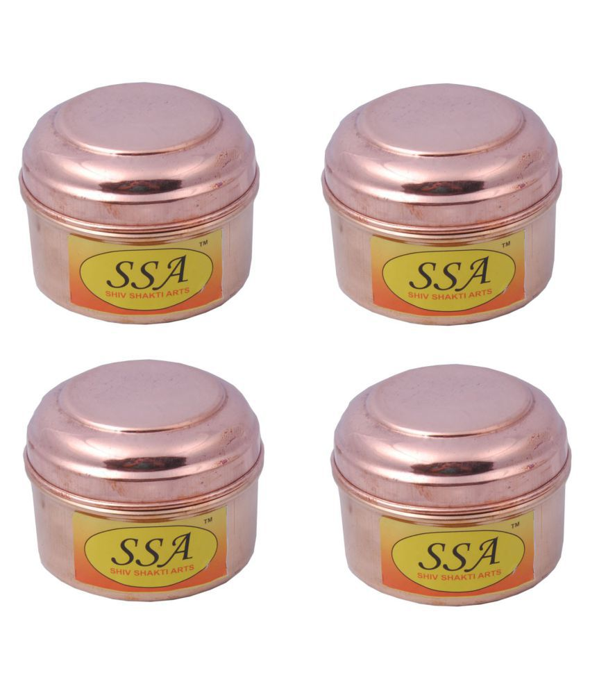 Shiv Shakti Arts box for storage Copper Food Container Set of 4 150 mL