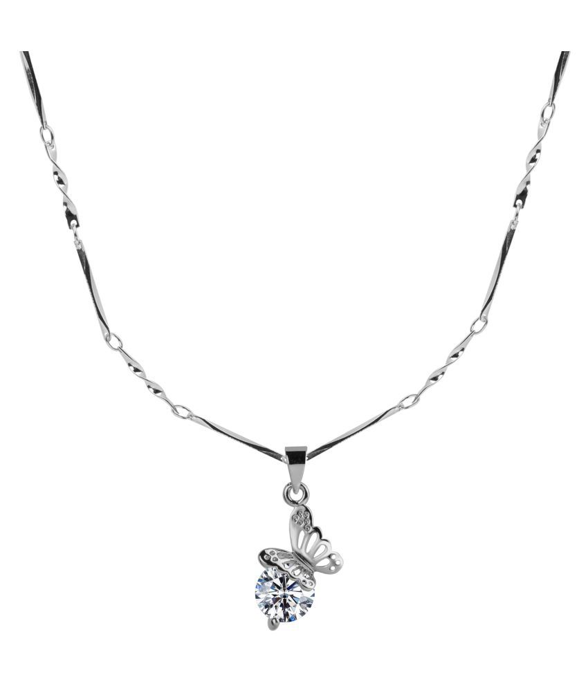 Silver Plated chain With Attractive Butterfly  Shape Solitaire Diamond Pendant  For Women