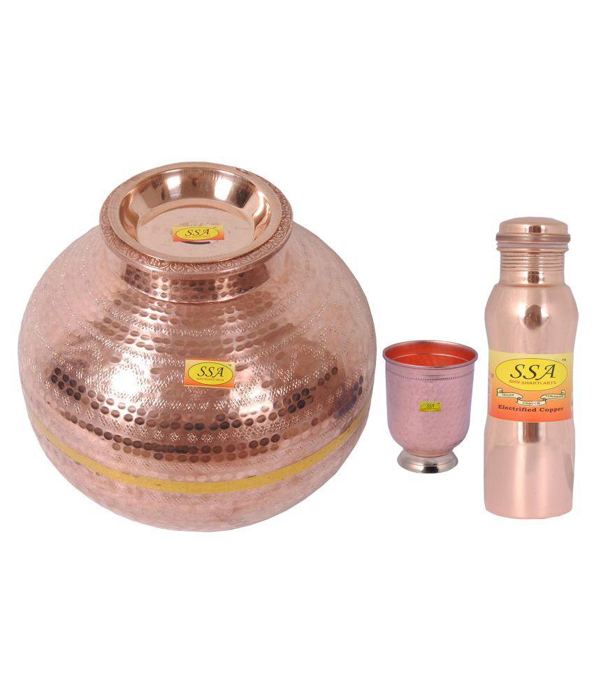 Shiv Shakti Arts Copper Matka 15Litre 3 Pcs Lemon set