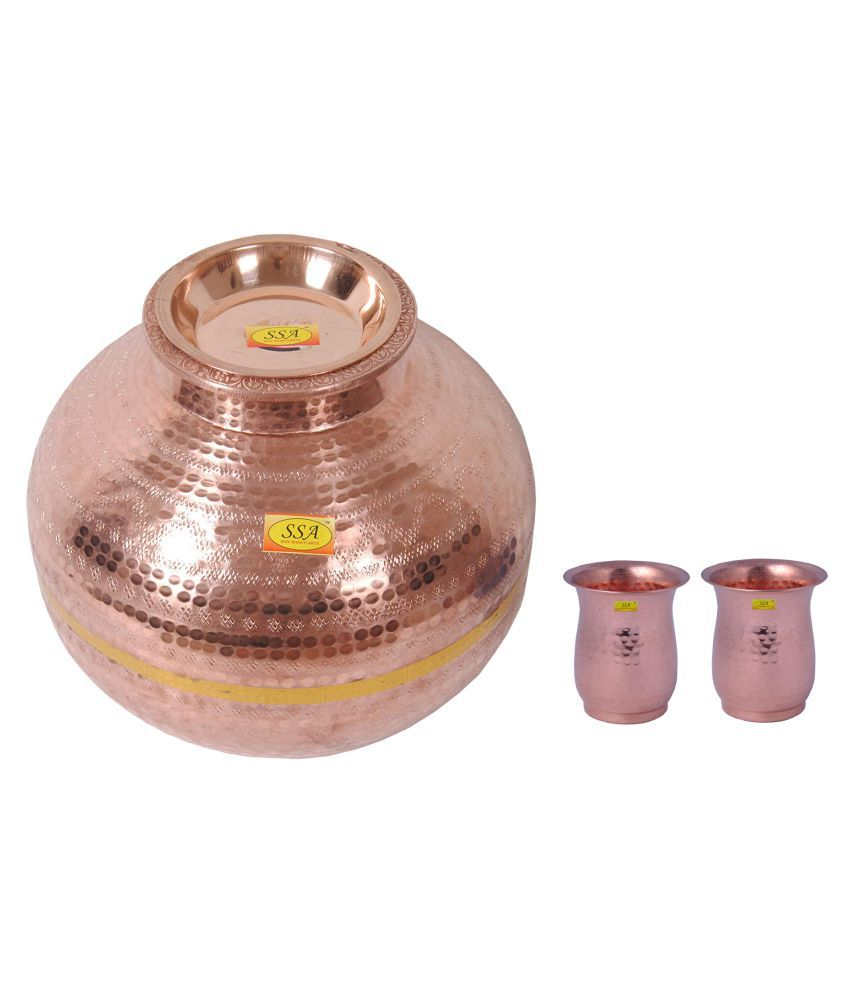 Shiv Shakti Arts Matka With 2 Glass 3 Pcs Lemon set