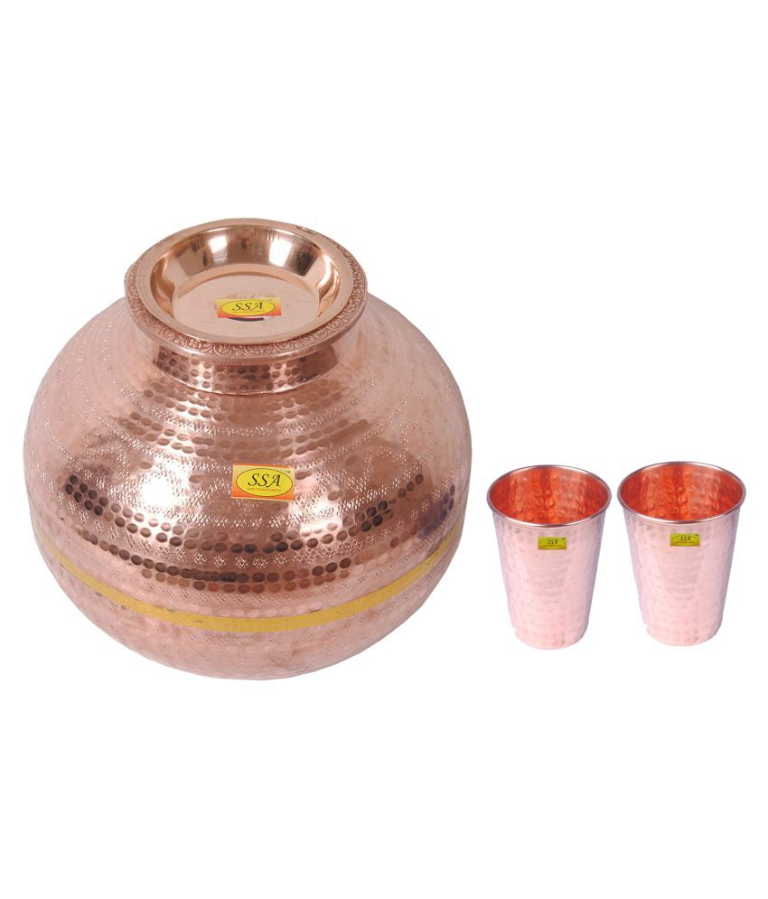 Shiv Shakti Arts Matka With 2 Glass 3 Pcs Lemon set