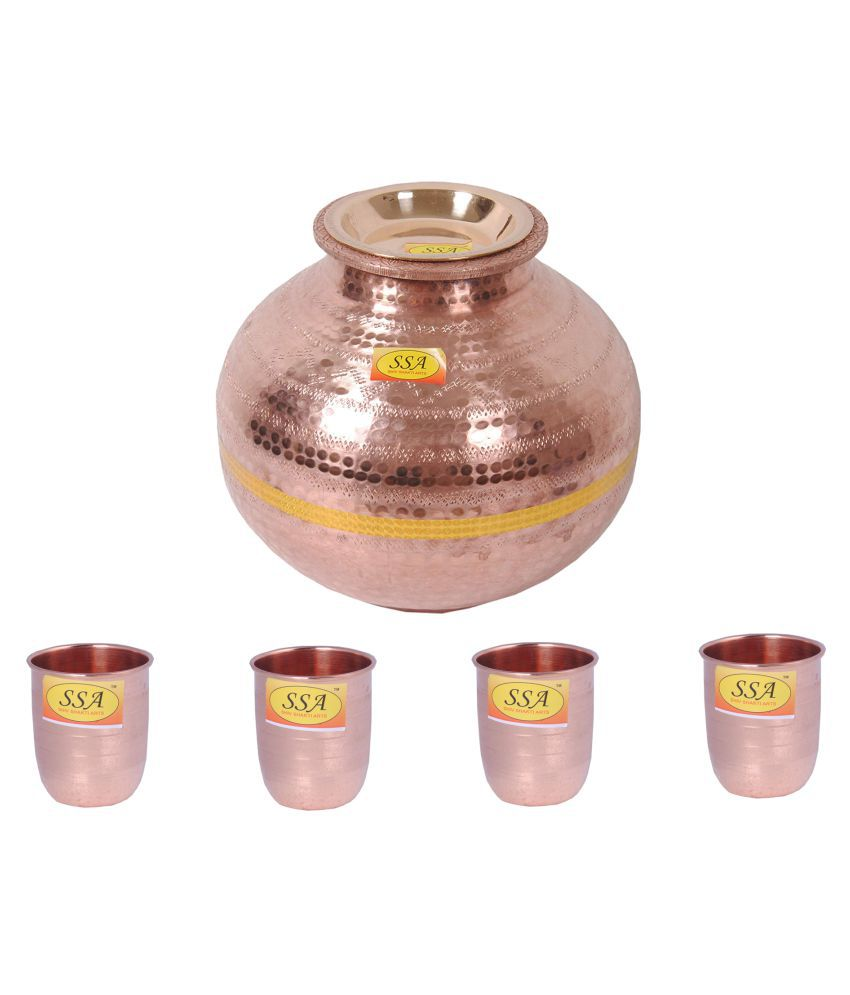 Shiv Shakti Arts Matka With 4 Glass 5 Pcs Lemon set
