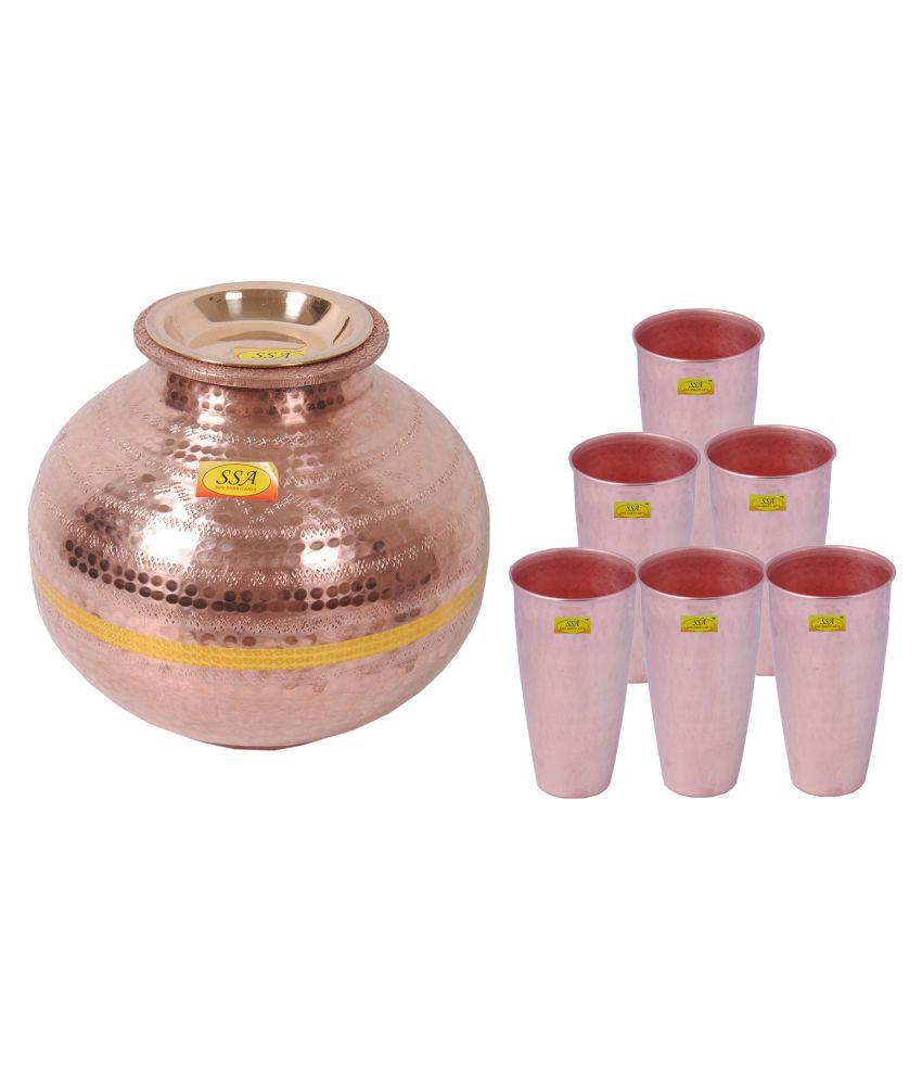 Shiv Shakti Arts Matka With 6 Glass 7 Pcs Lemon set
