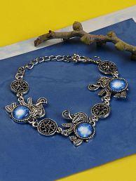 PRITA Elephant Inspired Germen Silver Bracelet for Women & Girls