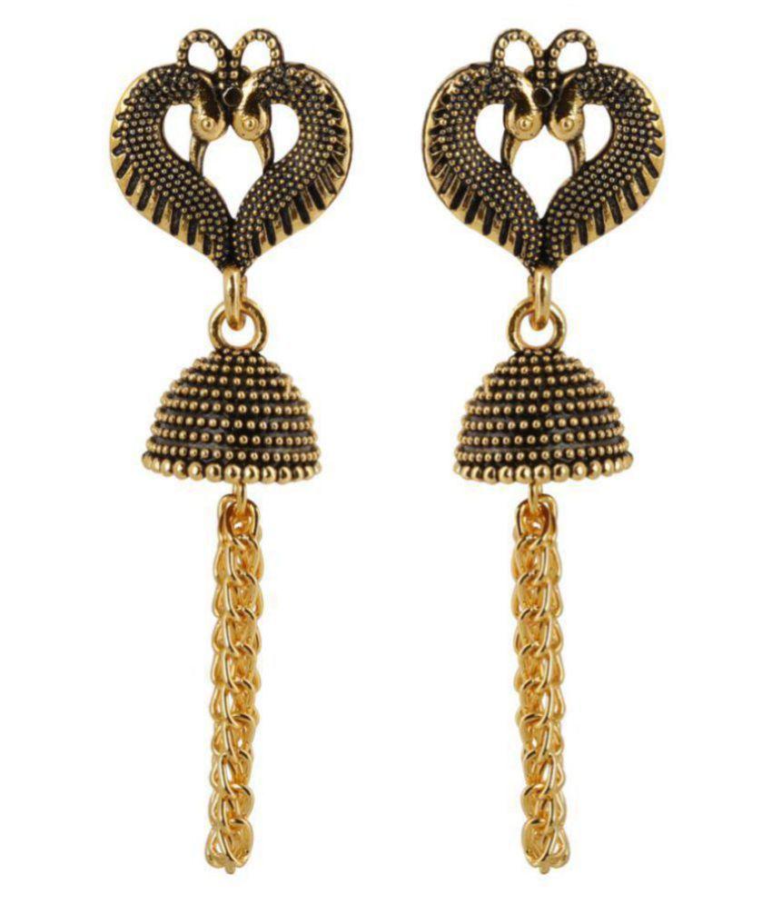 Silver Shine Beautiful Peacock Heart Shape Tassel Dangler Earrings for Women .