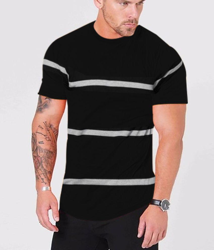 Veirdo 100 Percent Cotton Black Striper T-Shirt