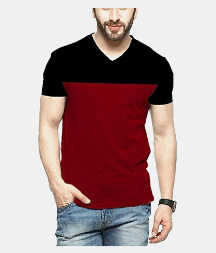 Veirdo 100 Percent Cotton Maroon Color Block T-Shirt