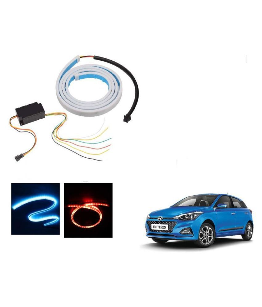 Auto Addict LED Dicky Light Ice Blue & Red DRL Brake with Side Turn Signal & Parking Indication Dicky, Trunk, Boot Strip Light For Hyundai Elite i20