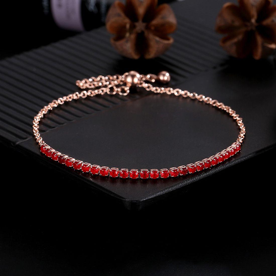Jewels Galaxy Delicate Cubic Zirconia 18K Rose Gold Plated Fabulous Bracelet For Women/Girls