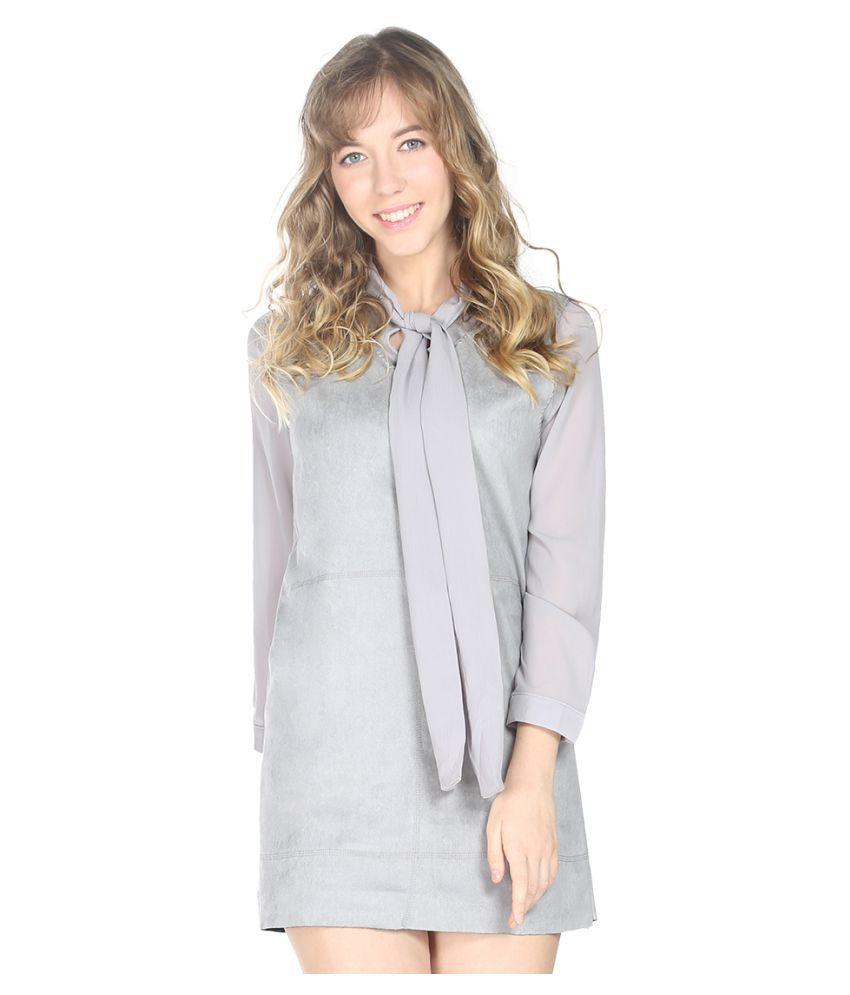 London Rag Velvet Grey Regular Dress