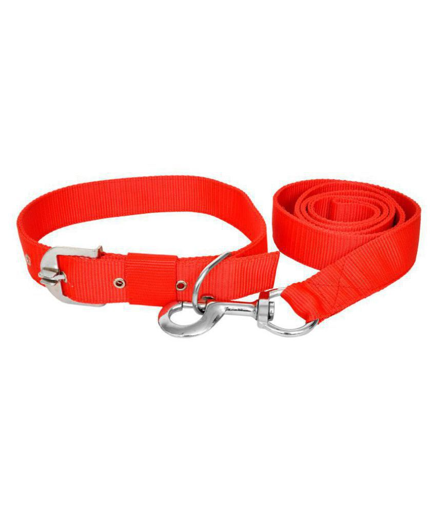 VIP COLLECTION Premium High Quality Strong Nylon EVERYDAY DOG Collar Leash set Color - Red