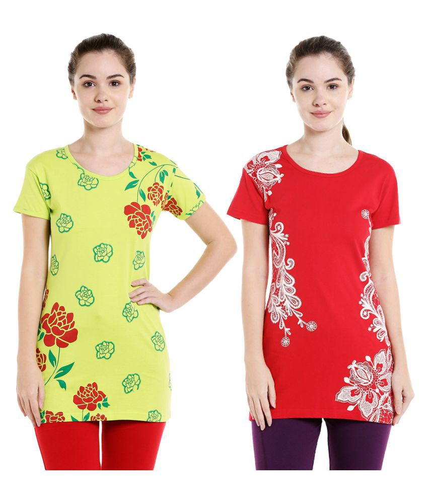 Bodyactive Pack of 2 Women's Printed Tshirts