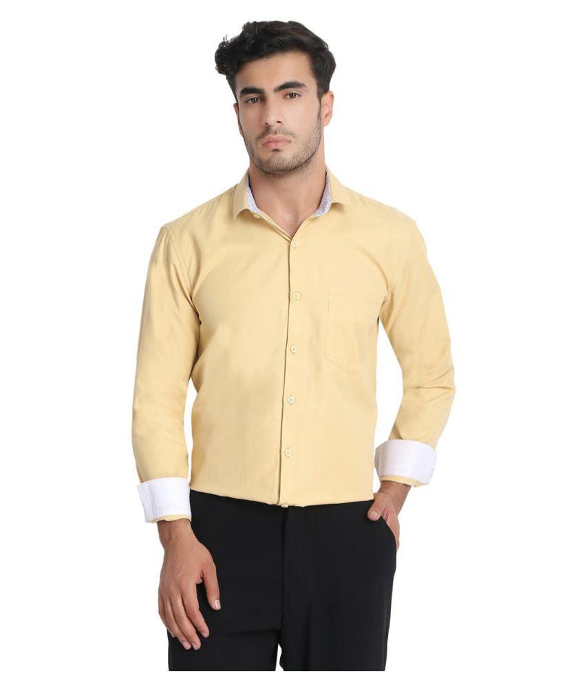 Gurus Fashion 100 Percent Cotton Yellow Solids Shirt