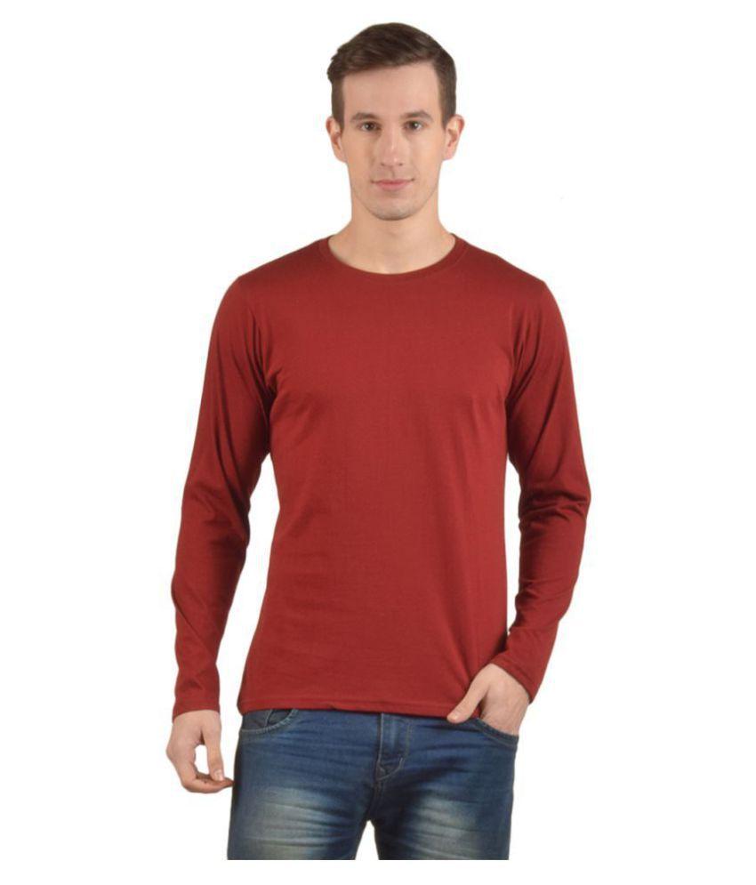 PrintOctopus 100 Percent Cotton Maroon Printed T-Shirt