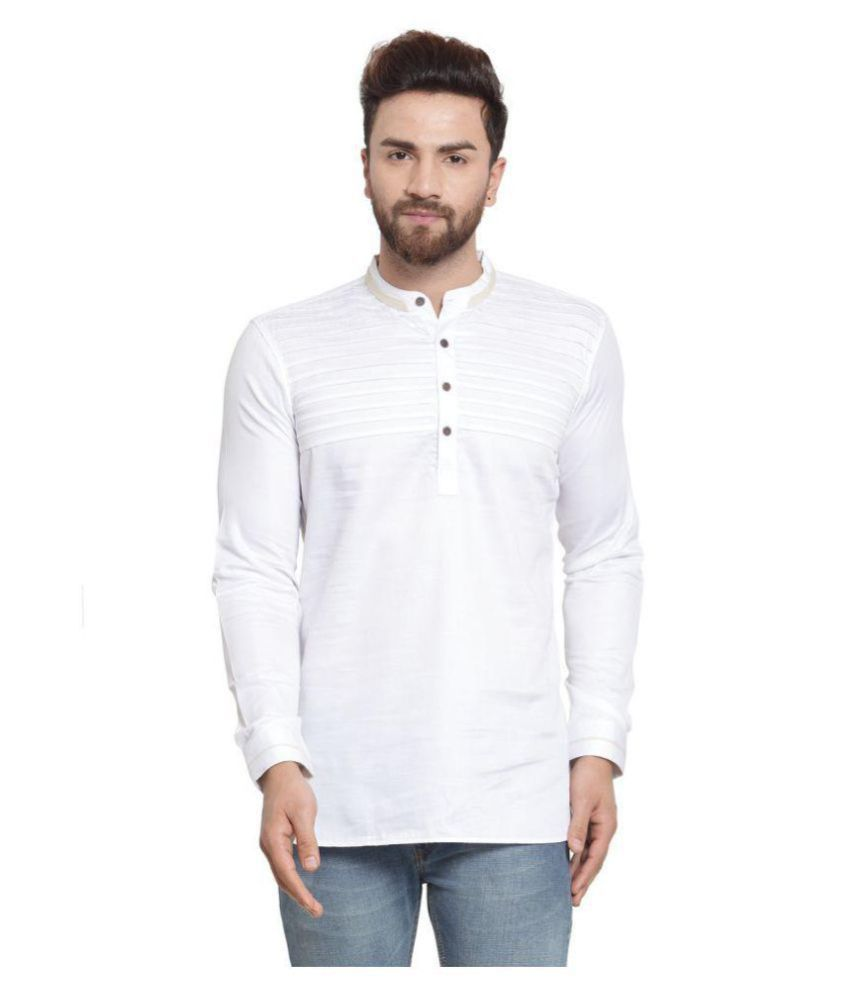 RG Designers White Cotton Kurta Single