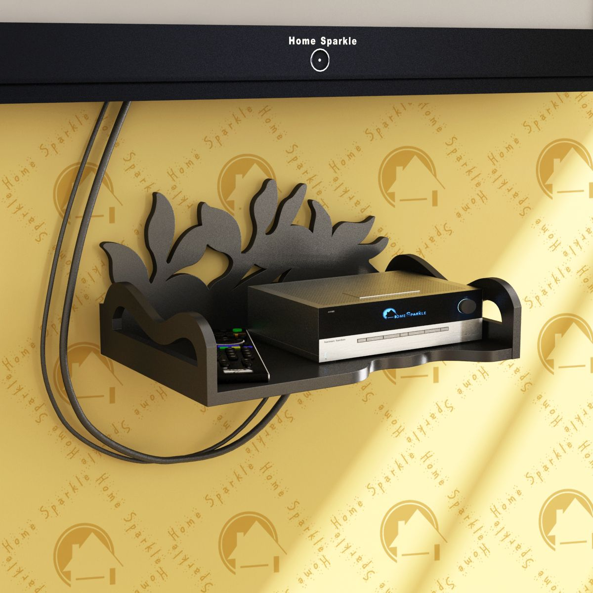 Home Sparkle Carved Set Top Box Holder/Wifi Modem Stand, Suitable For Living Room/ Bedroom ( Designed By Craftsman)