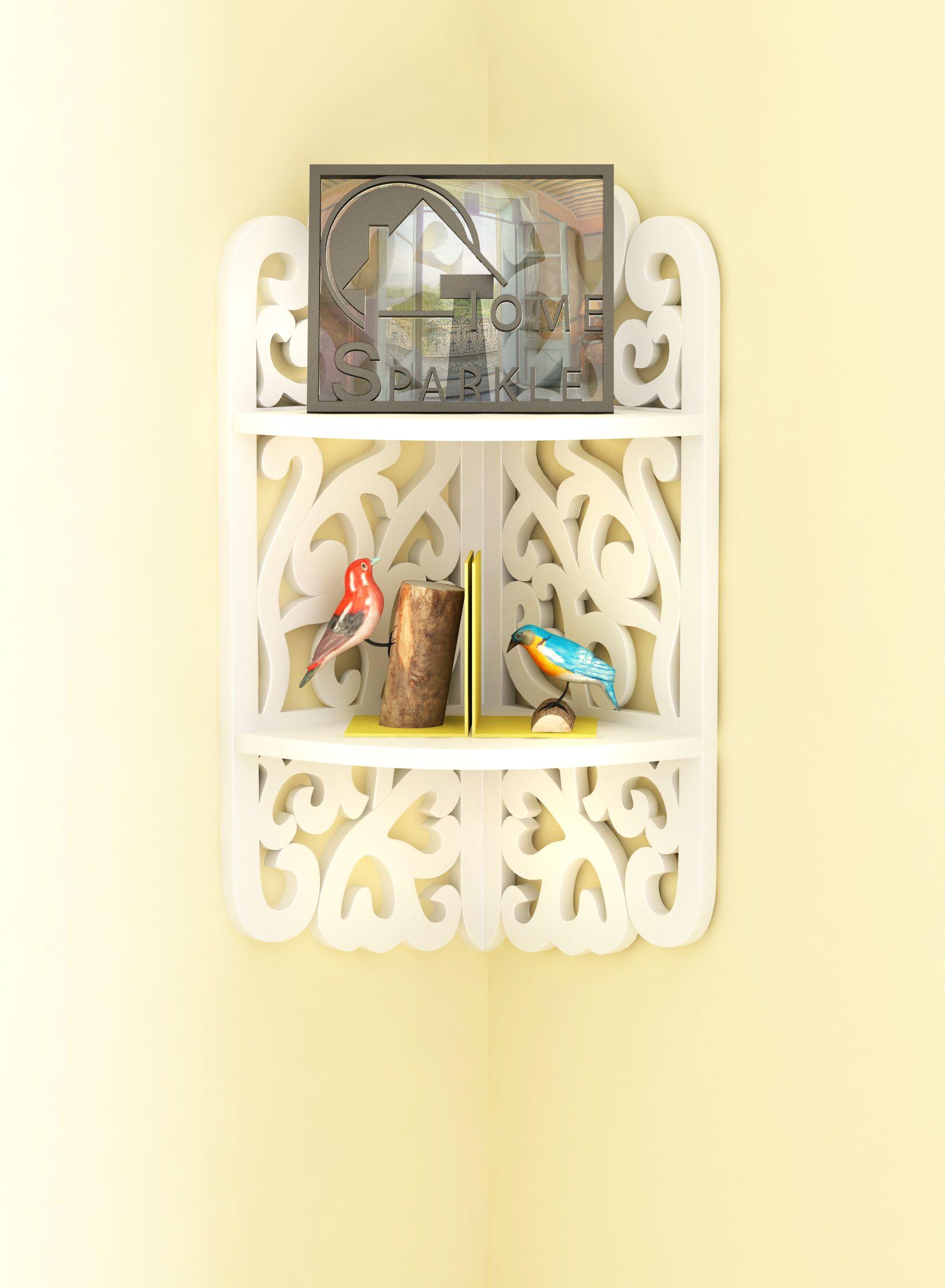 Home Sparkle MDF Decorative Corner Wall Shelves, 2 Tier, Carved Design, Suitable For Living Room/Bed Room (Designed By Craftsman)