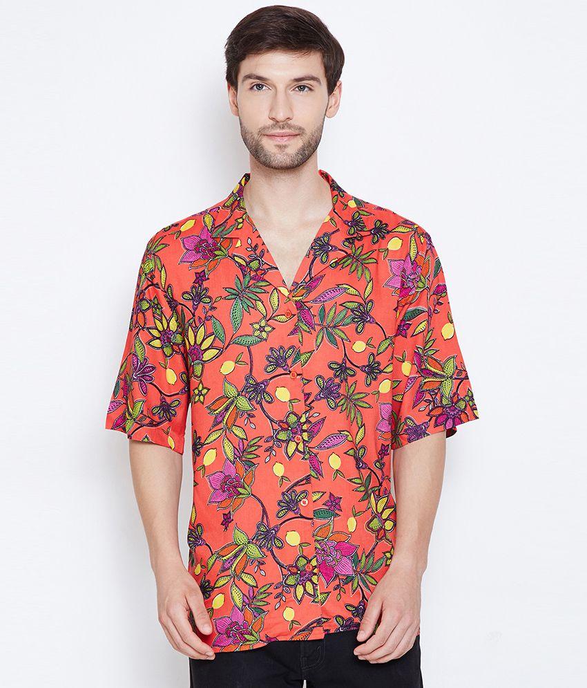 Oxolloxo Satin Orange Prints Shirt