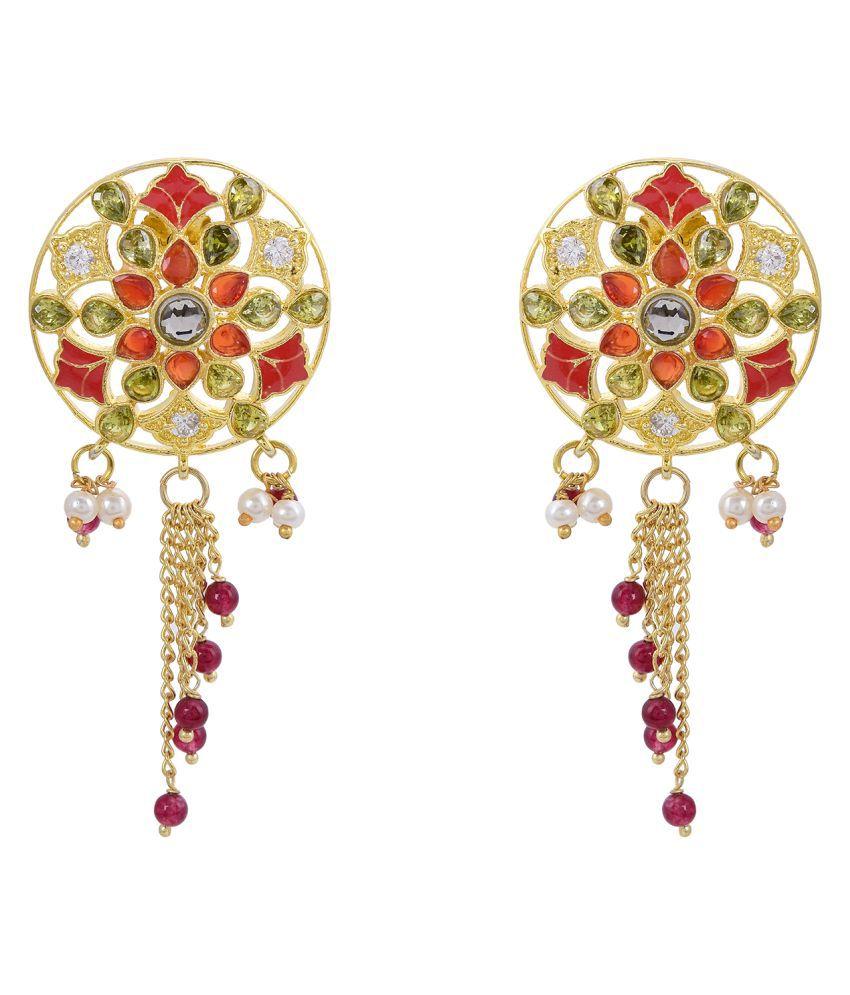 Tistabene Retails Enamelled Floral Designer Colored Dangler Earring (ER-3184)