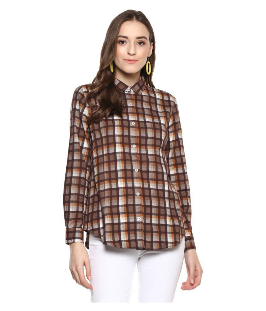 Speak Brown Cotton Shirt
