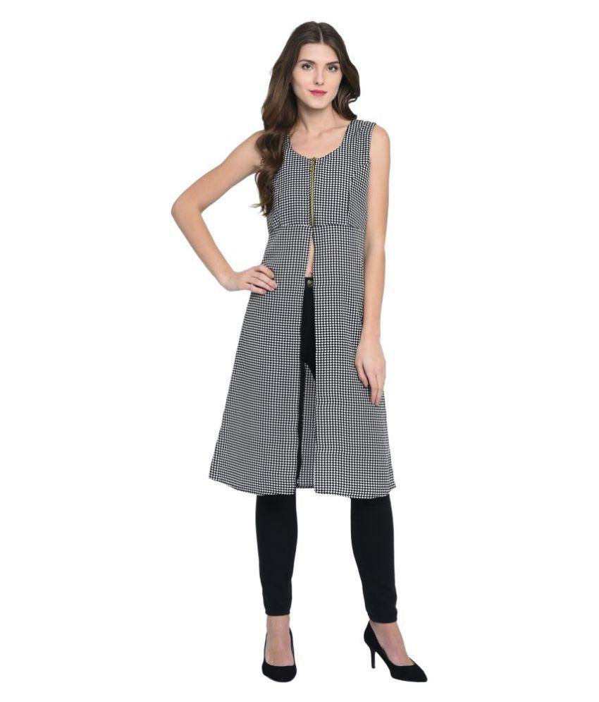 Triraj Poly Crepe Grey A- line Dress