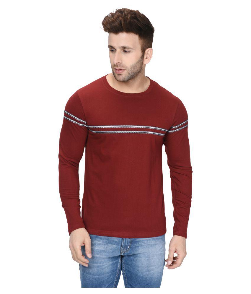 Fenoix Cotton Blend Maroon Solids T-Shirt