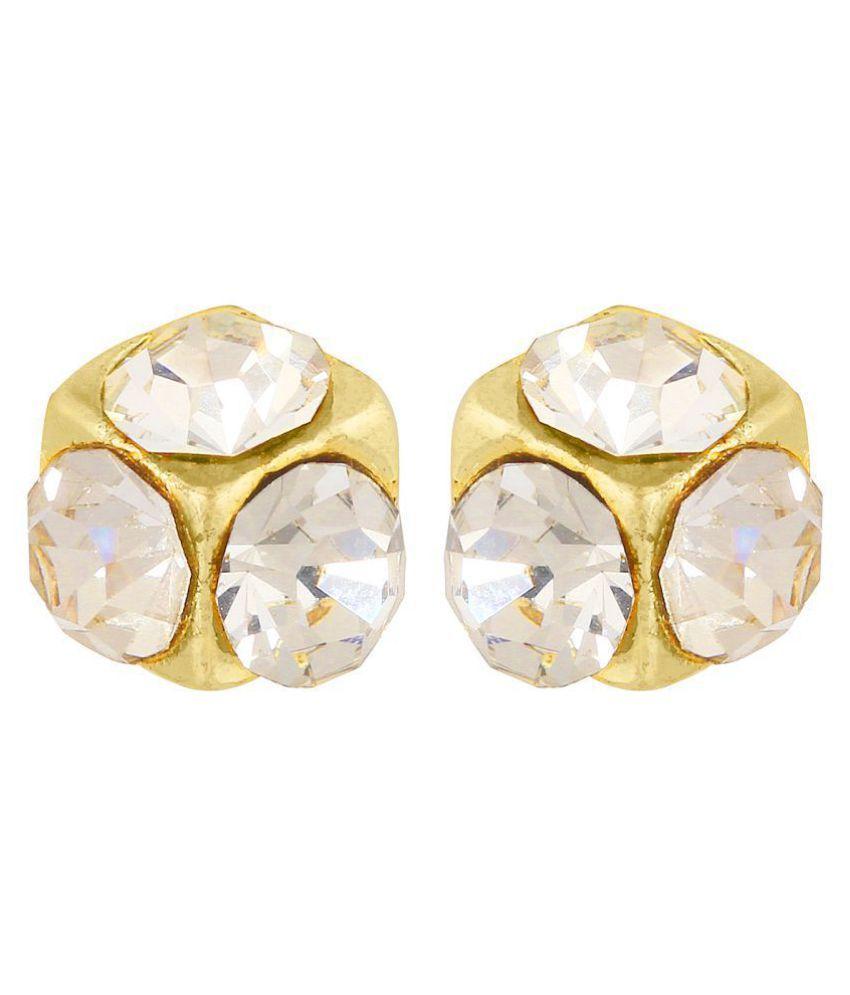 GoldNera Multicolour Traditional Three Stone American Diamond Ear Stud
