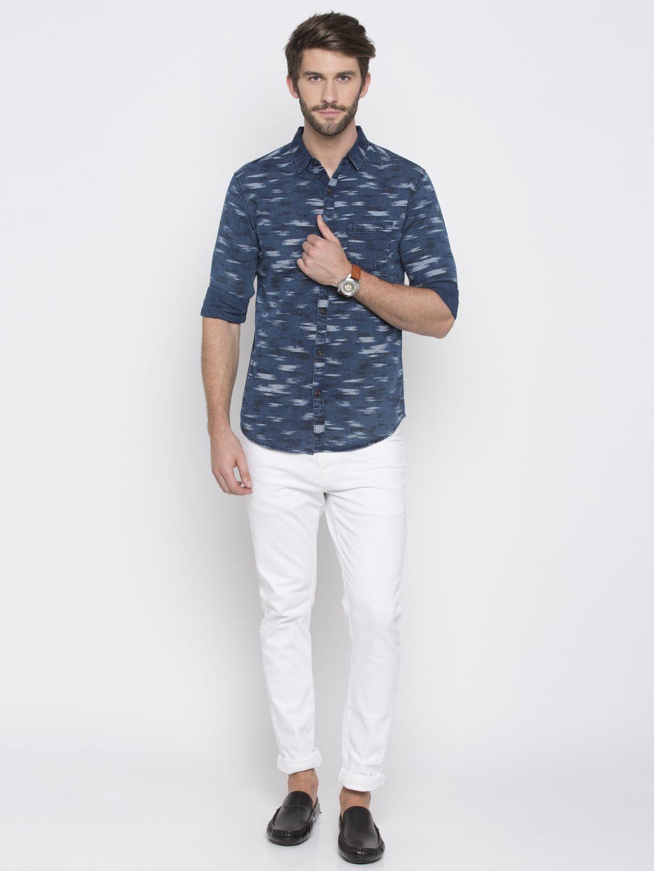 Spykar 100 Percent Cotton Blue Prints Shirt