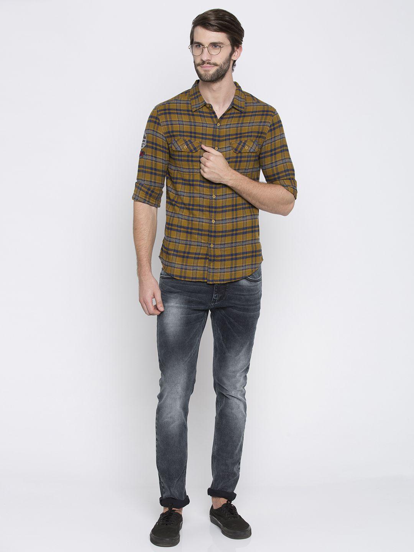 Spykar 100 Percent Cotton Yellow Checks Shirt