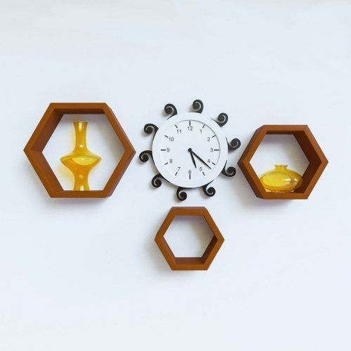 HOUZIE Wall Shelf Rack Set of 3 Hexagon Shape Storage Wall Shelves for Home - Red