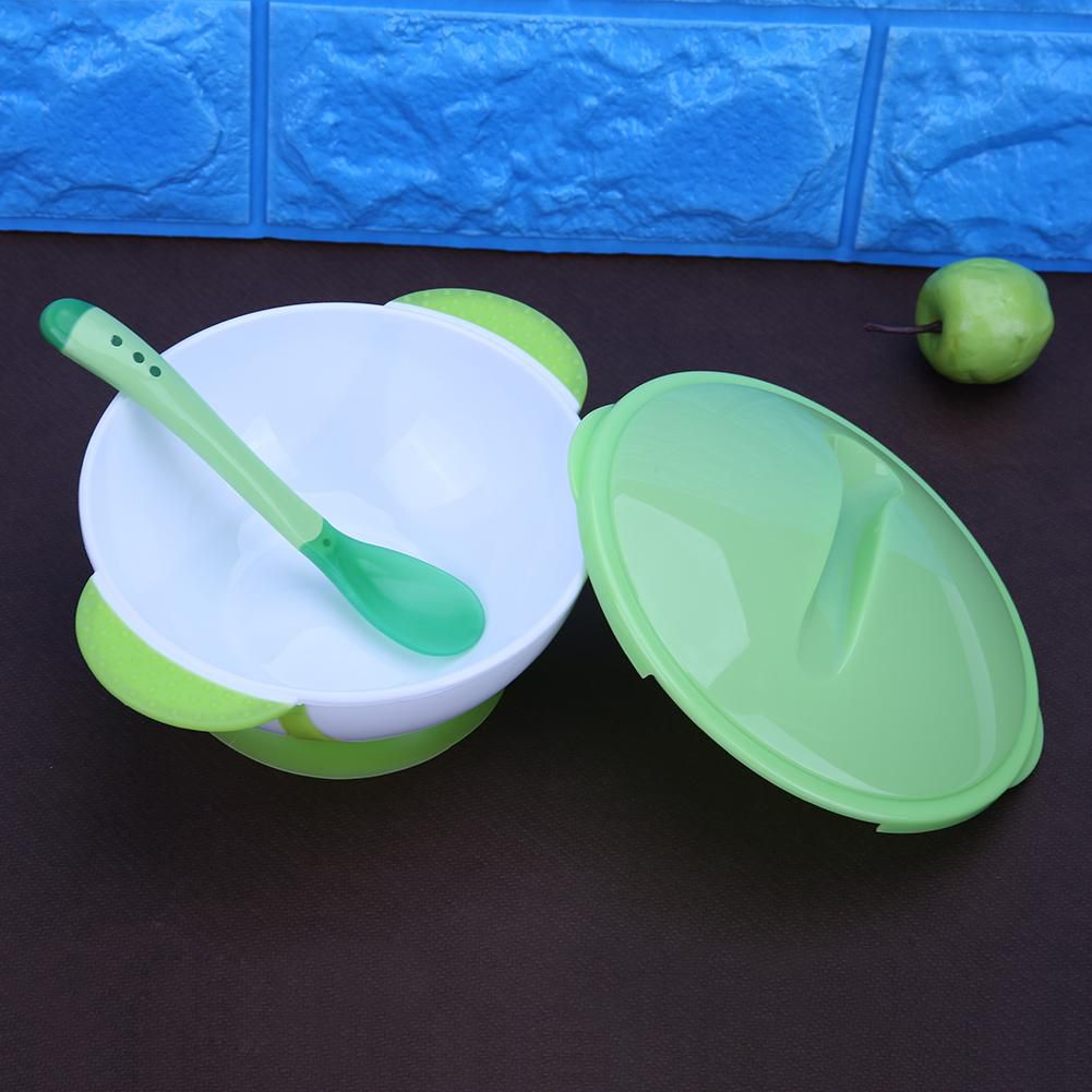 3pcs Toddler Baby Feeding Sucker Bowl with Spoon Green Lid Tableware