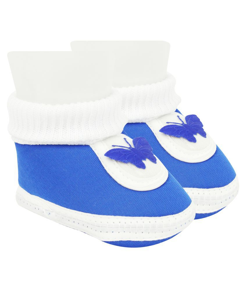 Neska Moda Baby Boys And Baby Girls Blue Soft Slip On Booties For 0 To 6 Months BT378