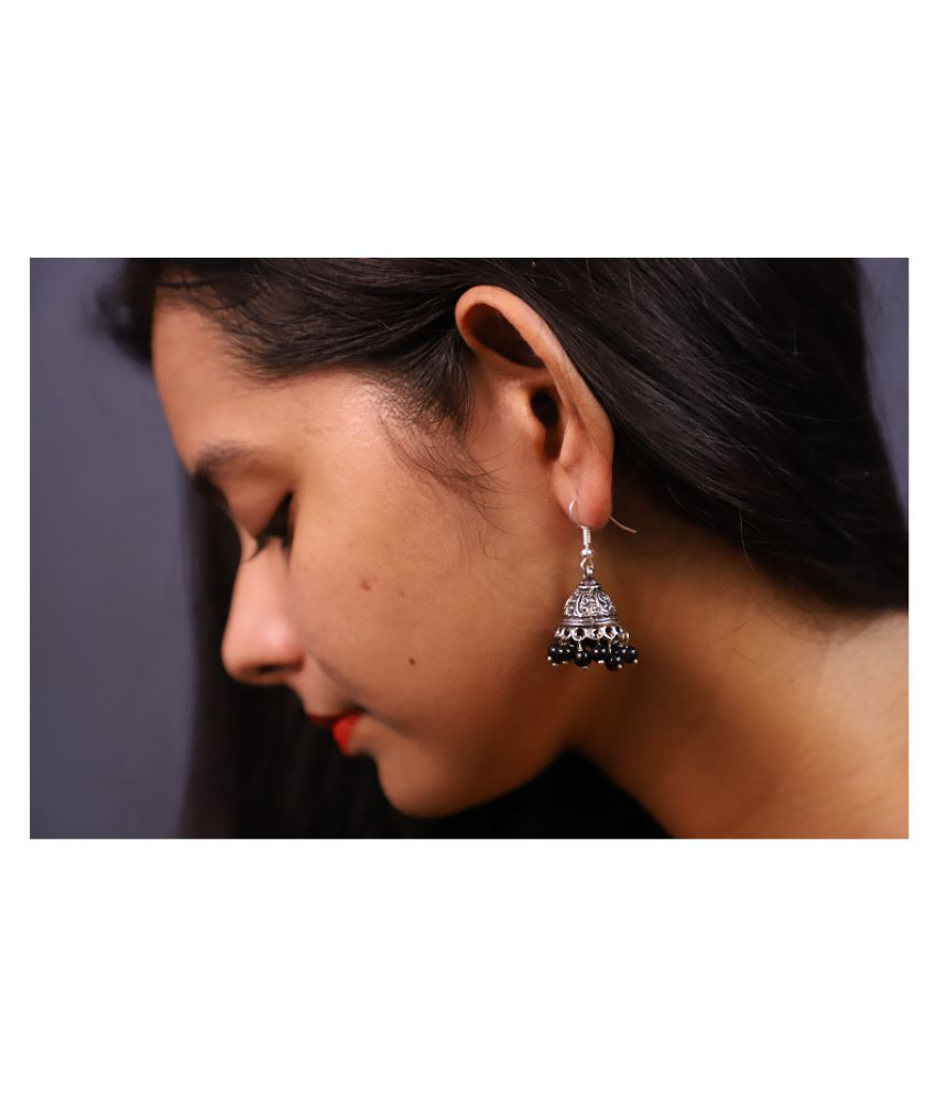 Econkart Sliver Plated Earring in Black Color for Women and girls