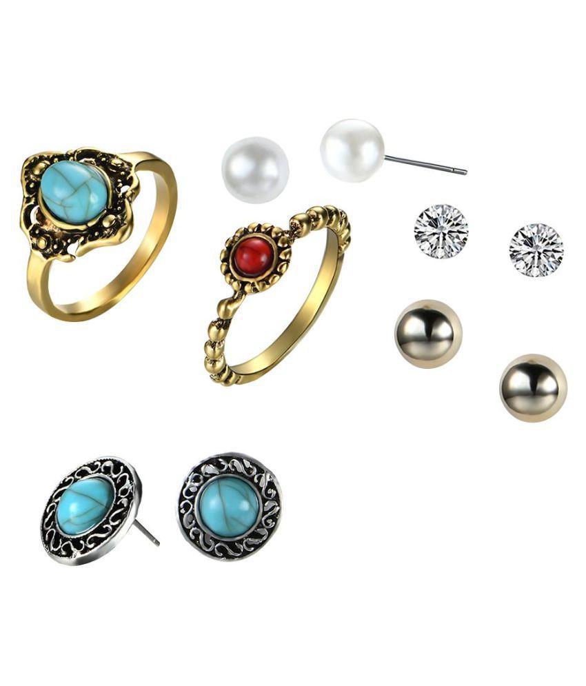 Ethnic Women Turquoise Rhinestones Pearls Ear Studs Retro Rings Jewelry Set (Fashion Jewellery)