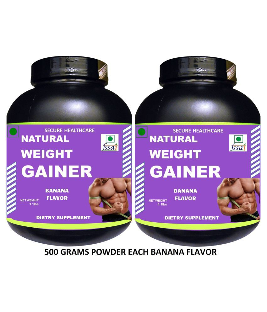 Secure Healthcare Natural Weight Gainer Banana Flavor Powder 1000 gm Pack Of 2